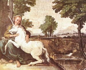 Fresco in Rome, probably by Domenichino, 1602, from Wikipedia:Unicorn