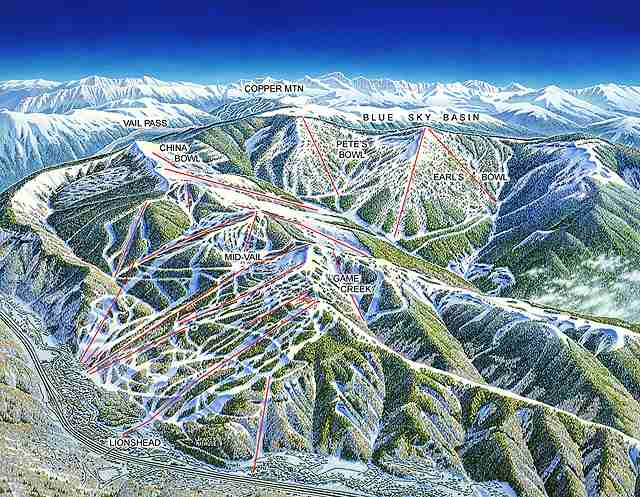 Famous paintings of ski areas, produced for use as the base for trail maps,