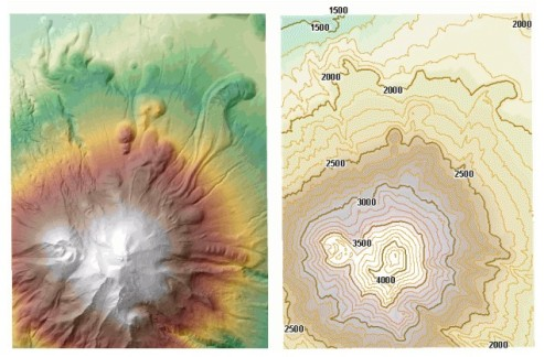 Shaded relief and contour maps of Mt. Shasta, California. Note the lava flows on the lower slopes north of the main part of the volcano. Taken from the ESRI course Learning ArcGIS Spatial Analyst.