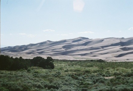 Great Sand Dunes from Pinyon Flat campground. The dunes are about 650 to 750 feet (xxx to xxx m) tall.