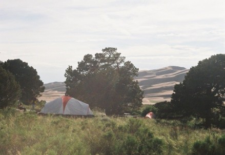 Our tent in Pinyon Flats campground.