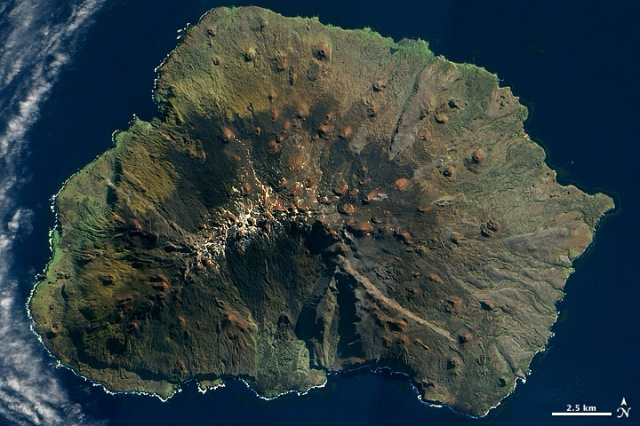 Marion Island, South Africa --- 10/18/2009 --- http://earthobservatory.nasa.gov/IOTD/view.php?id=40806 --- Note the smaller cones on the flanks of this volcanic island