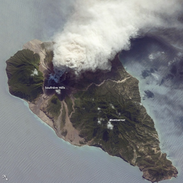 Ash and Steam Plume, Soufriere Hills Volcano, Montserrat