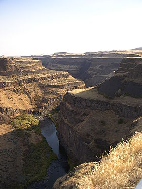 The Palouse River Canyon below Palouse Falls, Washington. This canyon (less than ten miles from my M.S. research area) likely predates catastrophic flooding in the Channeled Scablands. Credit: sss