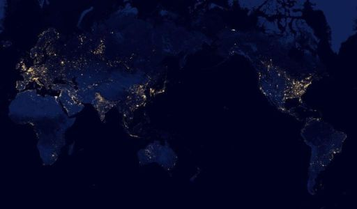Earth at Night zoomed out to show the entire planet
