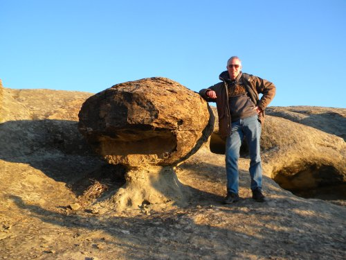 Me standing next to a concretion.